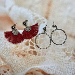 Set of 2 Earrings Red Fringe and Silver Hoops